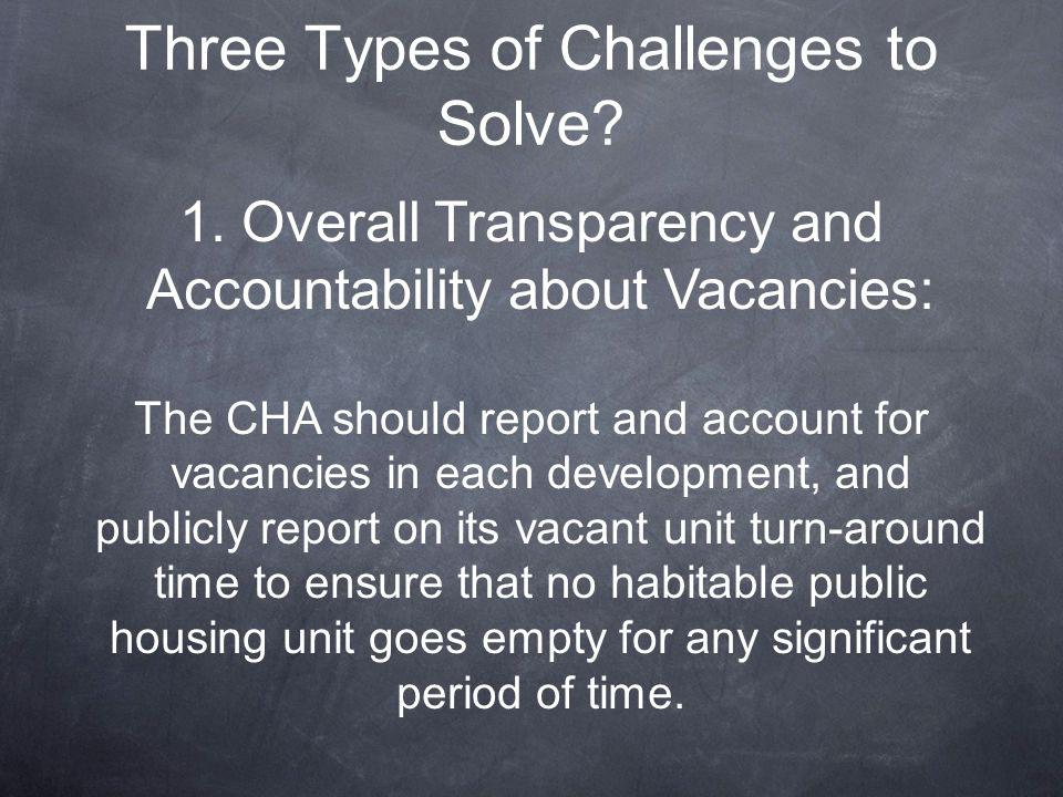 1. Overall Transparency and Accountability about Vacancies: The CHA should report and account for vacancies in each development, and publicly report o