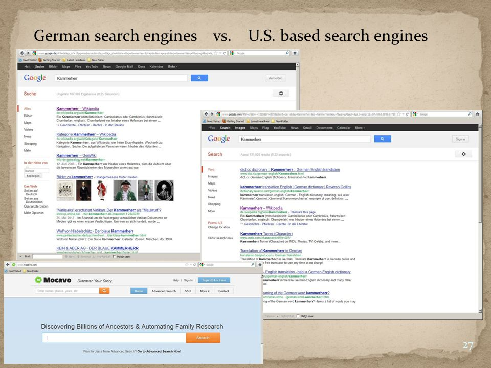 German search engines vs. U.S. based search engines 27