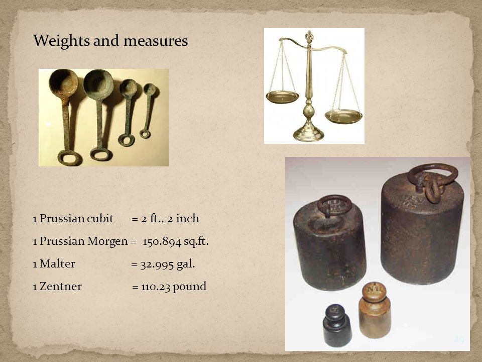 Weights and measures 1 Prussian cubit = 2 ft., 2 inch 1 Prussian Morgen = 150.894 sq.ft.