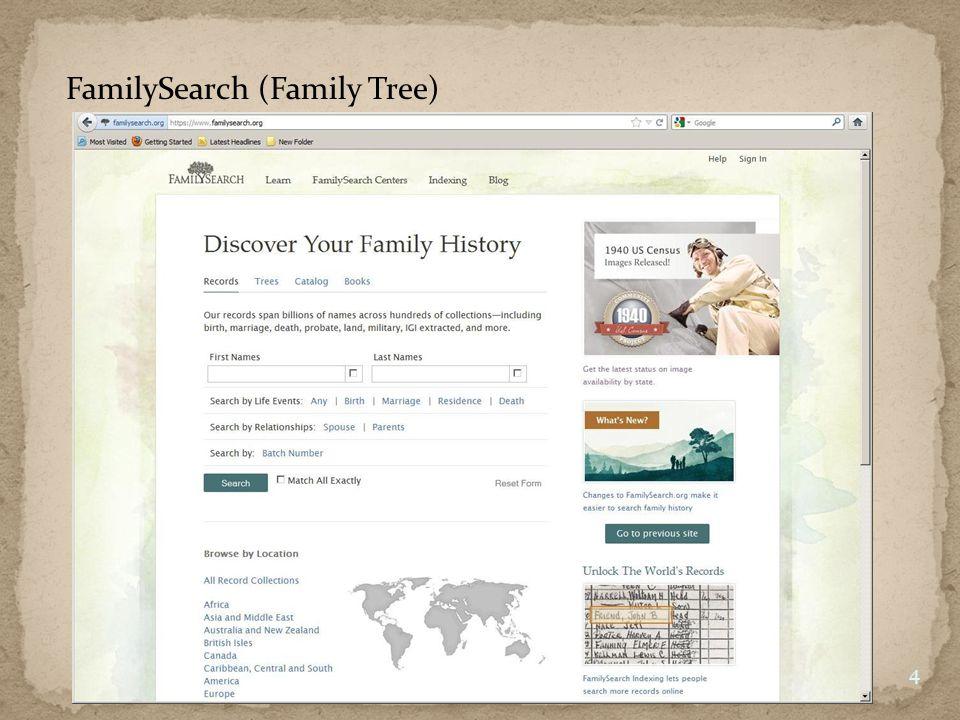 New FamilySearch (Family Tree) 5