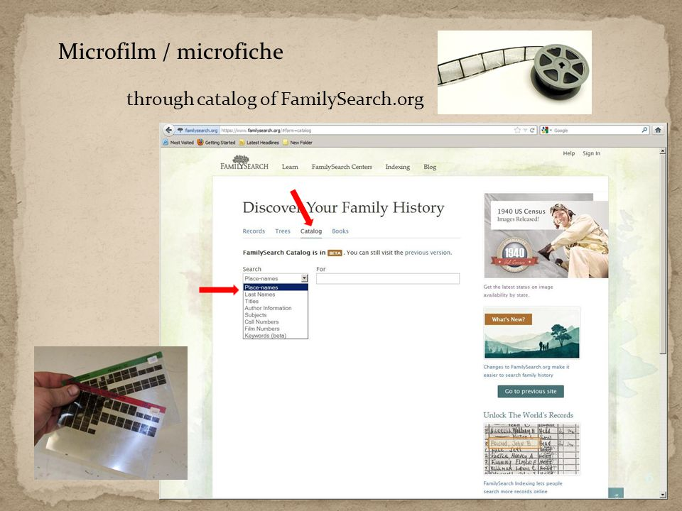 Microfilm / microfiche through catalog of FamilySearch.org 6