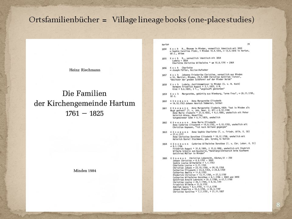 Ortsfamilienbücher = Village lineage books (one-place studies) 8