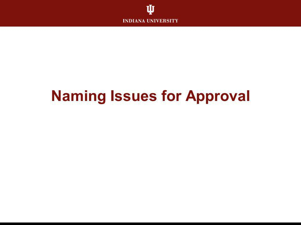 Naming Issues for Approval