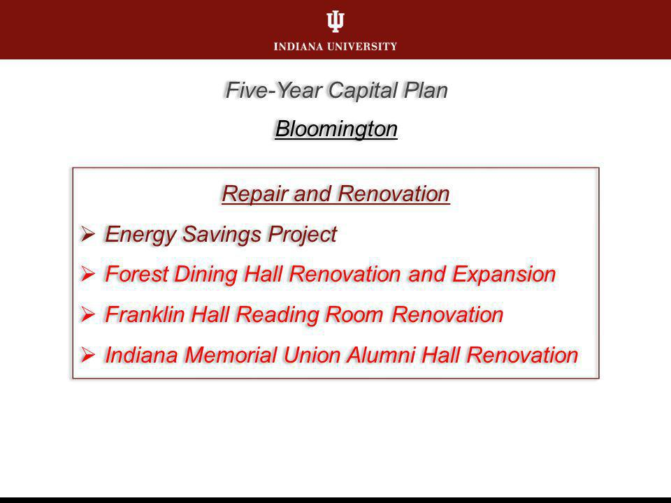 Repair and Renovation Energy Savings Project Forest Dining Hall Renovation and Expansion Franklin Hall Reading Room Renovation Indiana Memorial Union Alumni Hall Renovation Repair and Renovation Energy Savings Project Forest Dining Hall Renovation and Expansion Franklin Hall Reading Room Renovation Indiana Memorial Union Alumni Hall Renovation Five-Year Capital Plan Bloomington Five-Year Capital Plan Bloomington