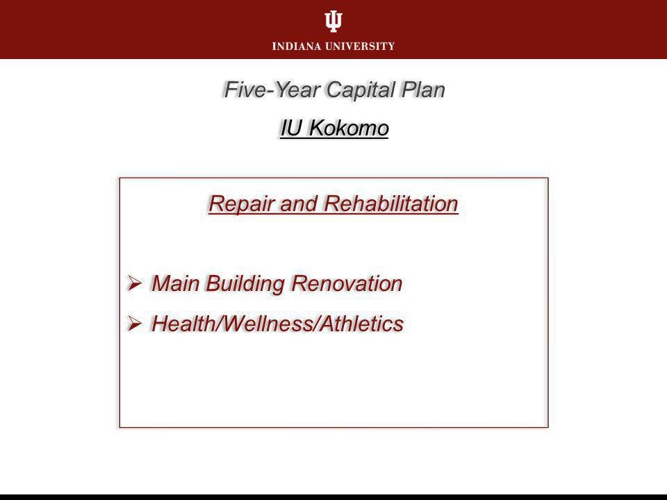 Repair and Rehabilitation Main Building Renovation Health/Wellness/Athletics Repair and Rehabilitation Main Building Renovation Health/Wellness/Athletics Five-Year Capital Plan IU Kokomo Five-Year Capital Plan IU Kokomo