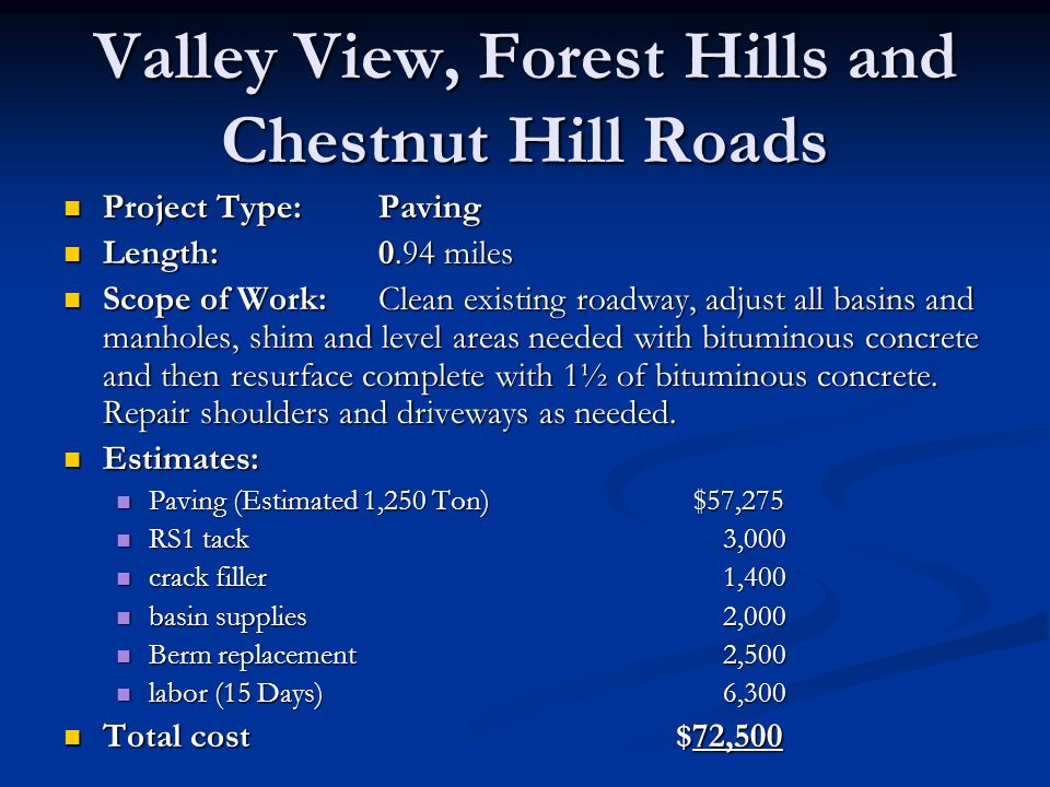 Valley View, Forest Hills and Chestnut Hill Roads Project Type:Paving Project Type:Paving Length:0.94 miles Length:0.94 miles Scope of Work:Clean exis