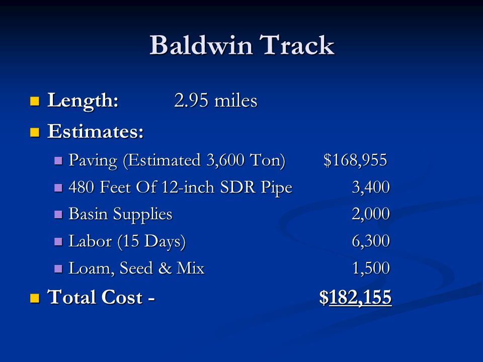 Baldwin Track Length:2.95 miles Length:2.95 miles Estimates: Estimates: Paving (Estimated 3,600 Ton) $168,955 Paving (Estimated 3,600 Ton) $168,955 48