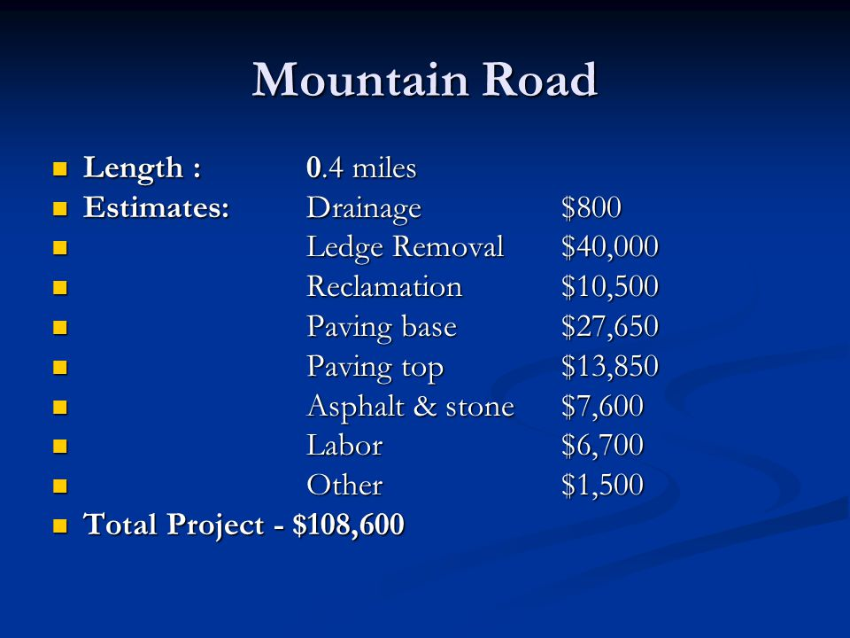 Mountain Road Length :0.4 miles Length :0.4 miles Estimates:Drainage$800 Estimates:Drainage$800 Ledge Removal$40,000 Ledge Removal$40,000 Reclamation$
