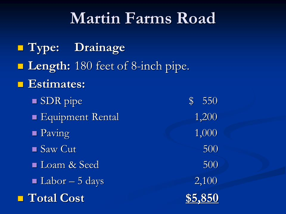 Martin Farms Road Type:Drainage Type:Drainage Length:180 feet of 8-inch pipe. Length:180 feet of 8-inch pipe. Estimates: Estimates: SDR pipe $ 550 SDR
