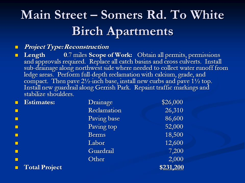 Main Street – Somers Rd. To White Birch Apartments Project Type:Reconstruction Project Type:Reconstruction Length 0.7 miles Scope of Work:Obtain all p