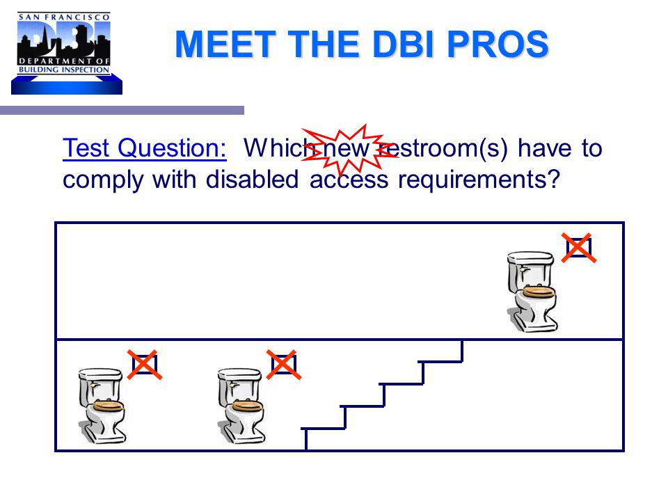 MEET THE DBI PROS Test Question: Which new restroom(s) have to comply with disabled access requirements