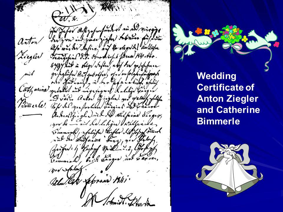 Anton Ziegler Catherine Bimmerle Xavier Reusch Anna Reusch Anna Reusch probably died in childbirth, and her two daughters were raised in an orphanage in Cincinnati.