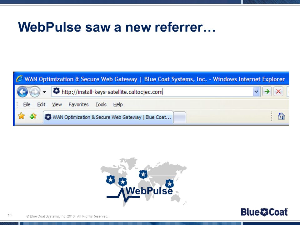 © Blue Coat Systems, Inc. 2010. All Rights Reserved. WebPulse saw a new referrer… 11 WebPulse
