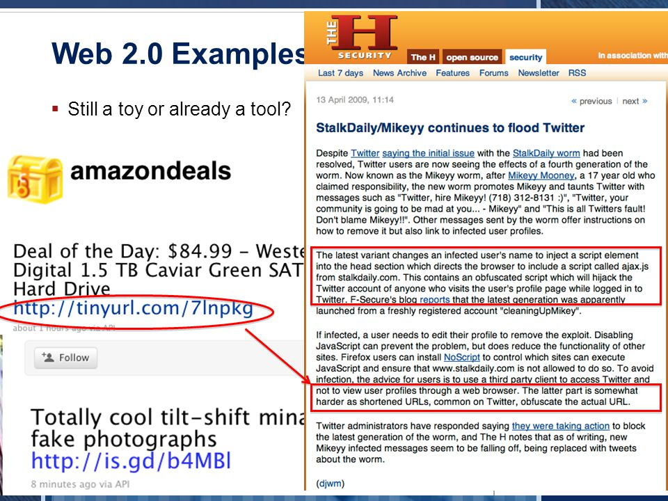 © Blue Coat Systems, Inc. 2010. All Rights Reserved. Web 2.0 Examples - Twitter Still a toy or already a tool?