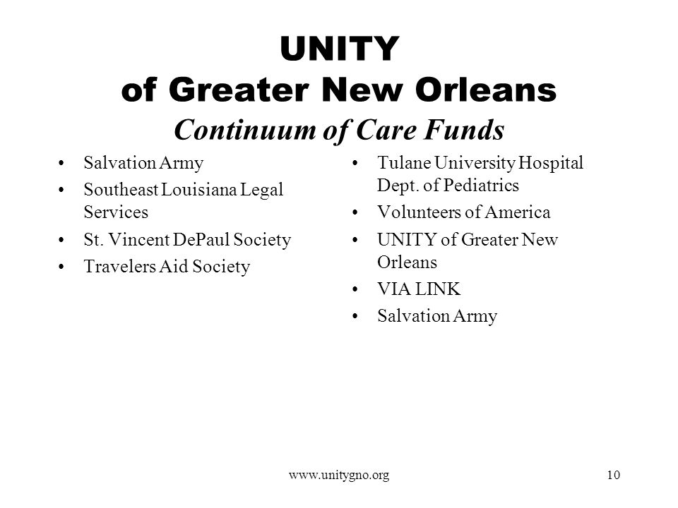 www.unitygno.org10 UNITY of Greater New Orleans Continuum of Care Funds Salvation Army Southeast Louisiana Legal Services St.