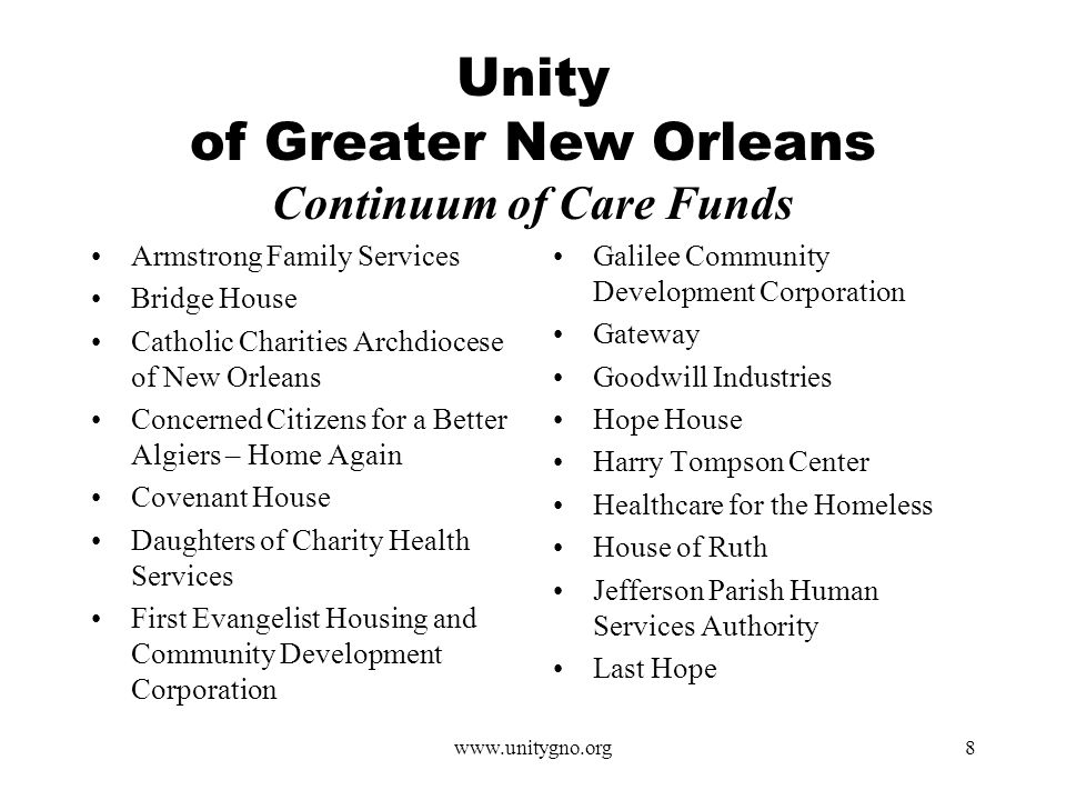 www.unitygno.org8 Unity of Greater New Orleans Continuum of Care Funds Armstrong Family Services Bridge House Catholic Charities Archdiocese of New Orleans Concerned Citizens for a Better Algiers – Home Again Covenant House Daughters of Charity Health Services First Evangelist Housing and Community Development Corporation Galilee Community Development Corporation Gateway Goodwill Industries Hope House Harry Tompson Center Healthcare for the Homeless House of Ruth Jefferson Parish Human Services Authority Last Hope