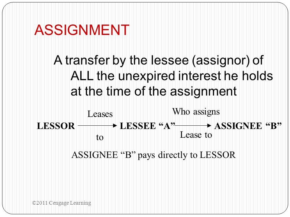 ASSIGNMENT A transfer by the lessee (assignor) of ALL the unexpired interest he holds at the time of the assignment ©2011 Cengage Learning LESSOR Leas