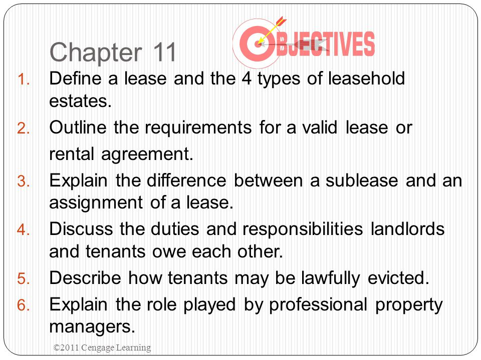 Review Quiz Chapter 11 2.Lessor A leases to Lessee B who legally subleases to Sublessee C.