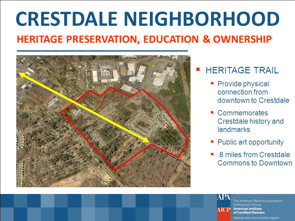 CRESTDALE NEIGHBORHOOD HERITAGE PRESERVATION, EDUCATION & OWNERSHIP HERITAGE TRAIL Provide physical connection from downtown to Crestdale Commemorates Crestdale history and landmarks Public art opportunity.8 miles from Crestdale Commons to Downtown