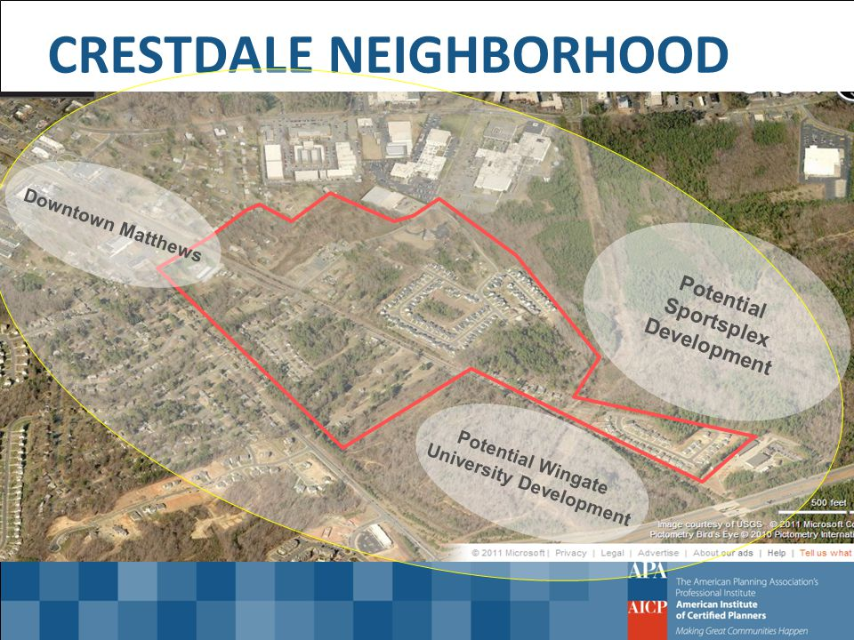 Potential Wingate University Development Potential Sportsplex Development CRESTDALE NEIGHBORHOOD Downtown Matthews