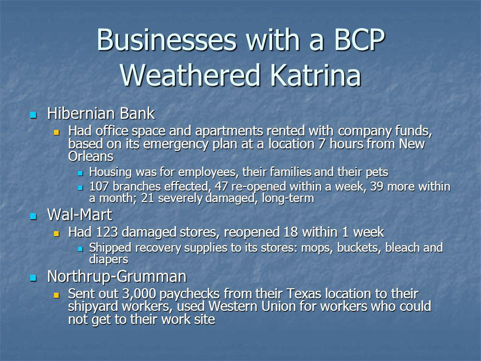 Businesses with a BCP Weathered Katrina Hibernian Bank Hibernian Bank Had office space and apartments rented with company funds, based on its emergenc