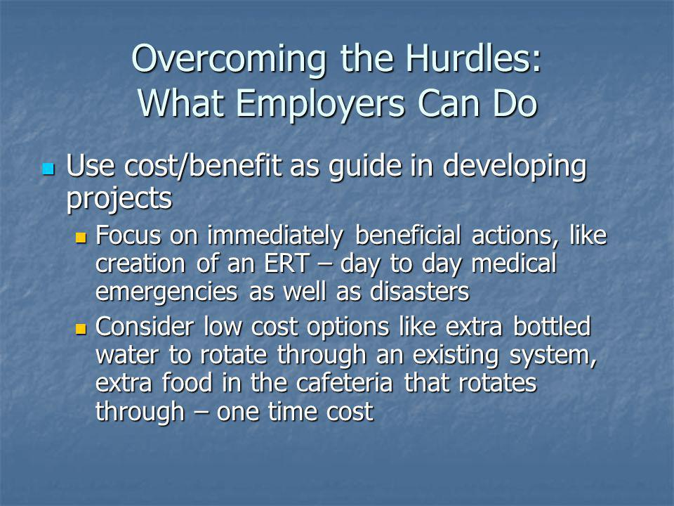 Overcoming the Hurdles: What Employers Can Do Use cost/benefit as guide in developing projects Use cost/benefit as guide in developing projects Focus