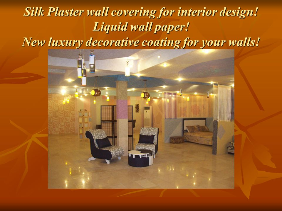 Silk Plaster wall covering for interior design.Liquid wall paper.
