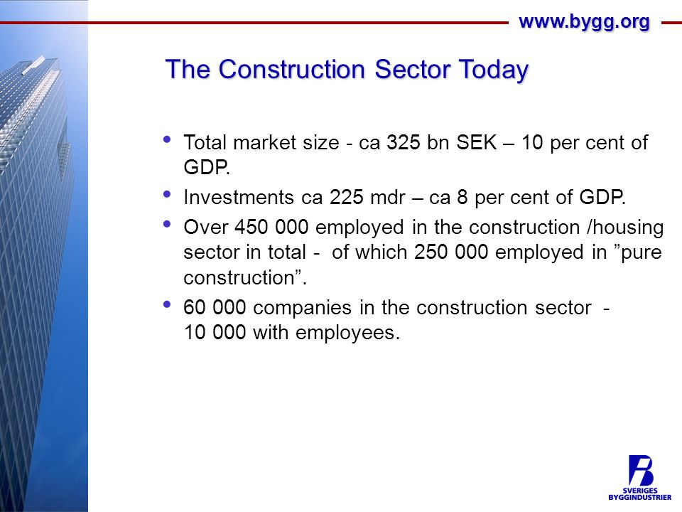 www.bygg.org The Construction Sector Today Total market size - ca 325 bn SEK – 10 per cent of GDP.