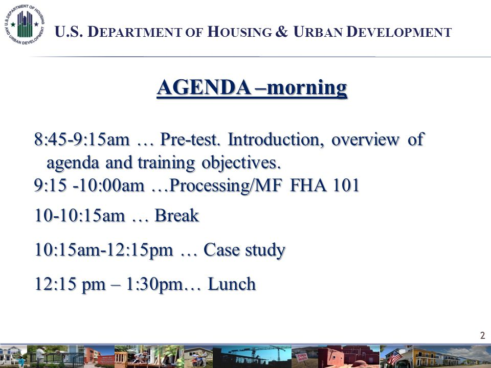 AGENDA –morning 8:45-9:15am … Pre-test. Introduction, overview of agenda and training objectives.