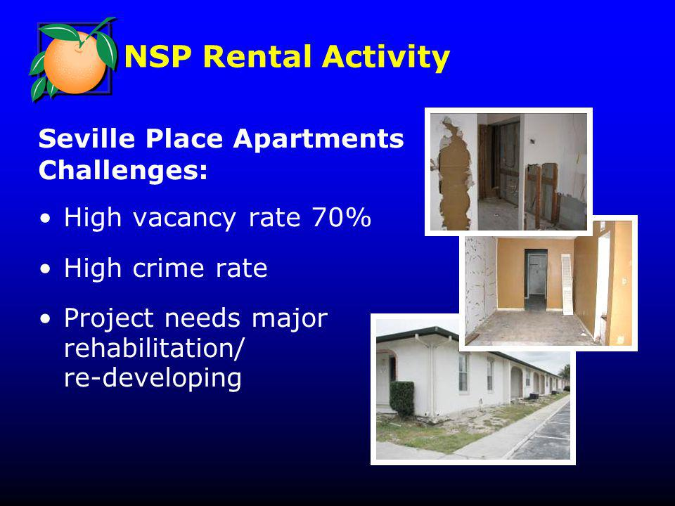 NSP Rental Activity Seville Place Apartments Challenges: High vacancy rate 70% High crime rate Project needs major rehabilitation/ re-developing