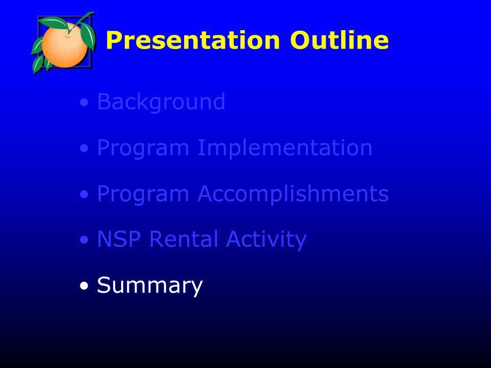 Presentation Outline Background Program Implementation Program Accomplishments NSP Rental Activity Summary