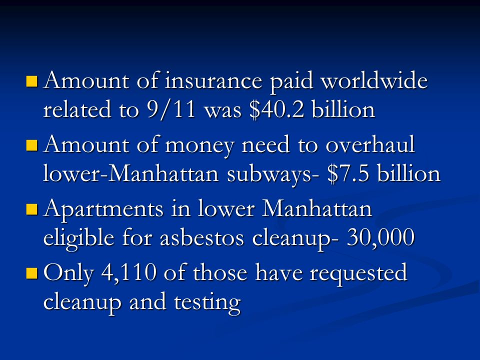 Amount of insurance paid worldwide related to 9/11 was $40.2 billion Amount of insurance paid worldwide related to 9/11 was $40.2 billion Amount of money need to overhaul lower-Manhattan subways- $7.5 billion Amount of money need to overhaul lower-Manhattan subways- $7.5 billion Apartments in lower Manhattan eligible for asbestos cleanup- 30,000 Apartments in lower Manhattan eligible for asbestos cleanup- 30,000 Only 4,110 of those have requested cleanup and testing Only 4,110 of those have requested cleanup and testing