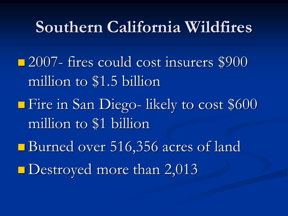Southern California Wildfires 2007- fires could cost insurers $900 million to $1.5 billion 2007- fires could cost insurers $900 million to $1.5 billion Fire in San Diego- likely to cost $600 million to $1 billion Fire in San Diego- likely to cost $600 million to $1 billion Burned over 516,356 acres of land Burned over 516,356 acres of land Destroyed more than 2,013 Destroyed more than 2,013