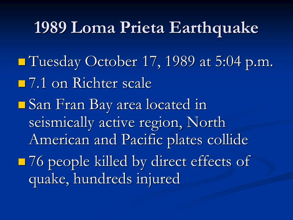 1989 Loma Prieta Earthquake Tuesday October 17, 1989 at 5:04 p.m.