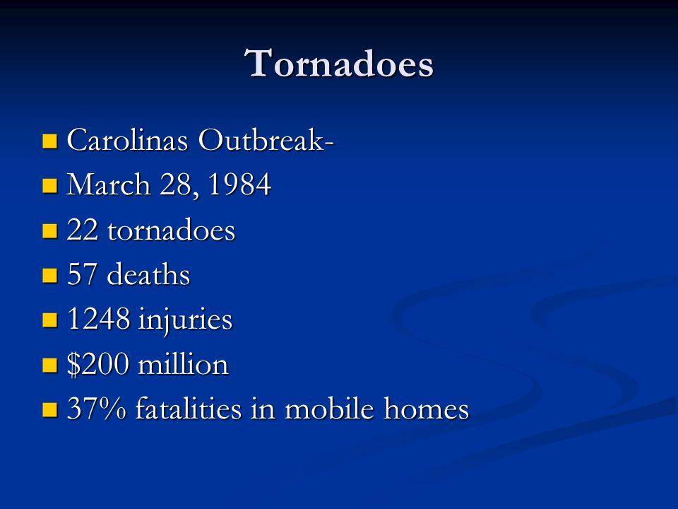 Tornadoes Carolinas Outbreak- Carolinas Outbreak- March 28, 1984 March 28, 1984 22 tornadoes 22 tornadoes 57 deaths 57 deaths 1248 injuries 1248 injuries $200 million $200 million 37% fatalities in mobile homes 37% fatalities in mobile homes