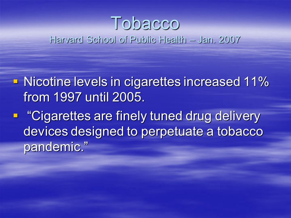 Tobacco Harvard School of Public Health – Jan.