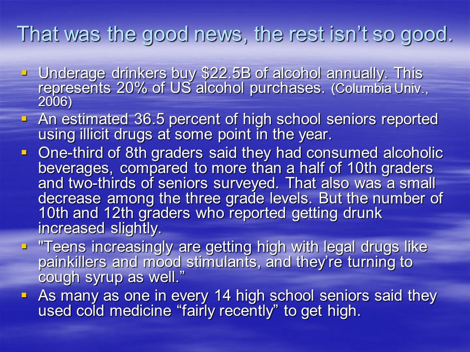 That was the good news, the rest isnt so good. Underage drinkers buy $22.5B of alcohol annually.