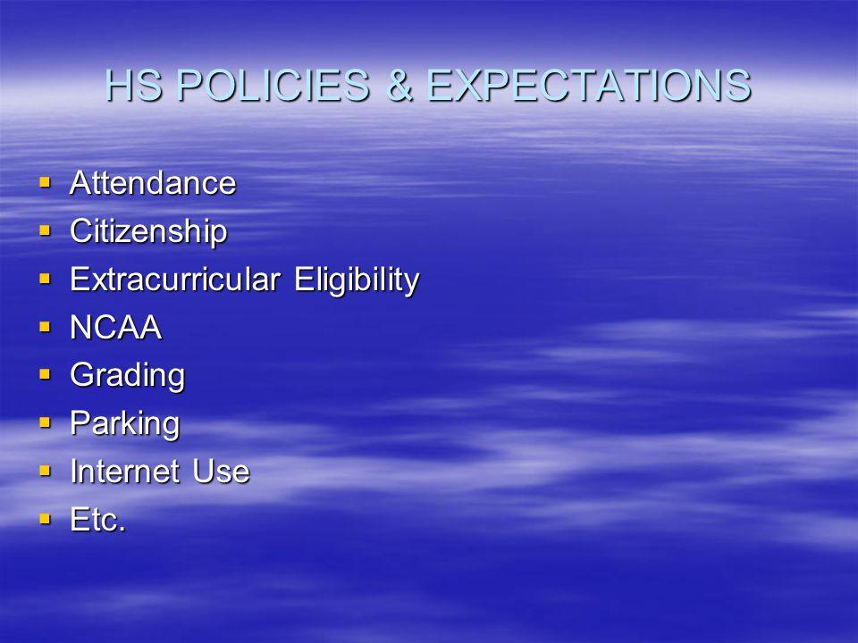 HS POLICIES & EXPECTATIONS Attendance Attendance Citizenship Citizenship Extracurricular Eligibility Extracurricular Eligibility NCAA NCAA Grading Gra