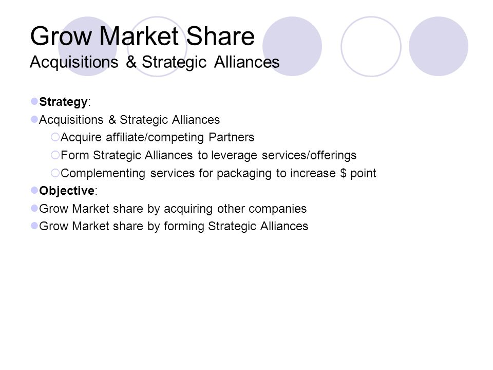 Grow Market Share Acquisitions & Strategic Alliances Strategy: Acquisitions & Strategic Alliances Acquire affiliate/competing Partners Form Strategic
