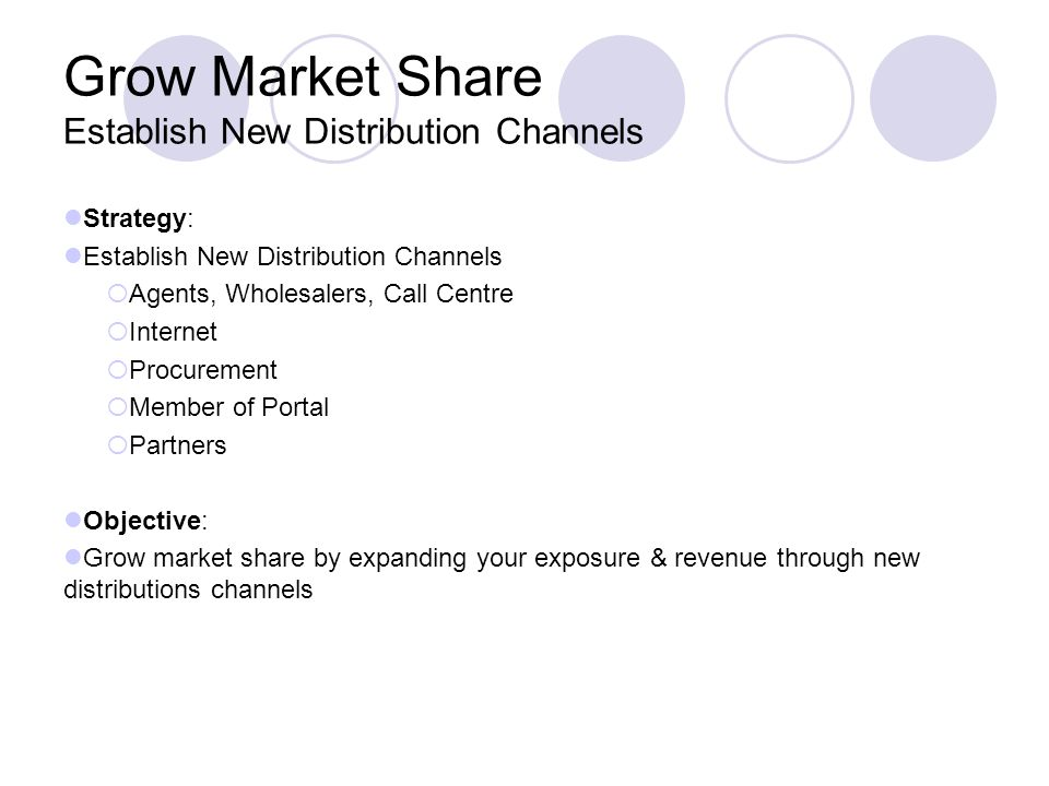 Grow Market Share Establish New Distribution Channels Strategy: Establish New Distribution Channels Agents, Wholesalers, Call Centre Internet Procurement Member of Portal Partners Objective: Grow market share by expanding your exposure & revenue through new distributions channels