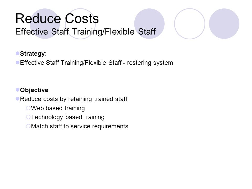 Reduce Costs Effective Staff Training/Flexible Staff Strategy: Effective Staff Training/Flexible Staff - rostering system Objective: Reduce costs by r