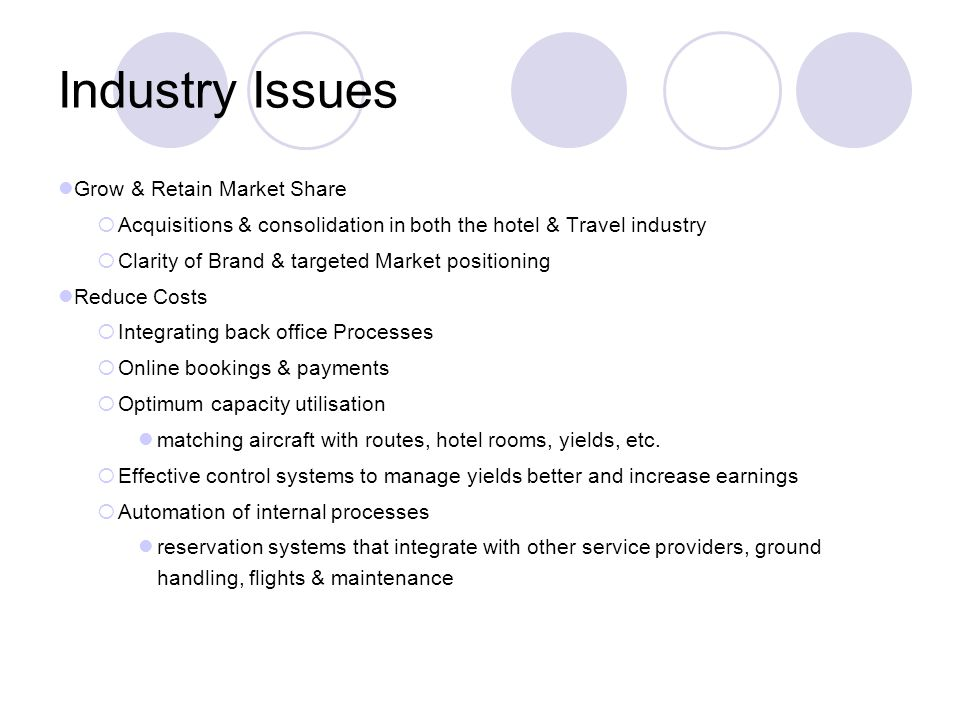 Industry Issues Grow & Retain Market Share Acquisitions & consolidation in both the hotel & Travel industry Clarity of Brand & targeted Market positio