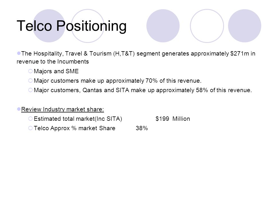 Telco Positioning The Hospitality, Travel & Tourism (H,T&T) segment generates approximately $271m in revenue to the Incumbents Majors and SME Major customers make up approximately 70% of this revenue.