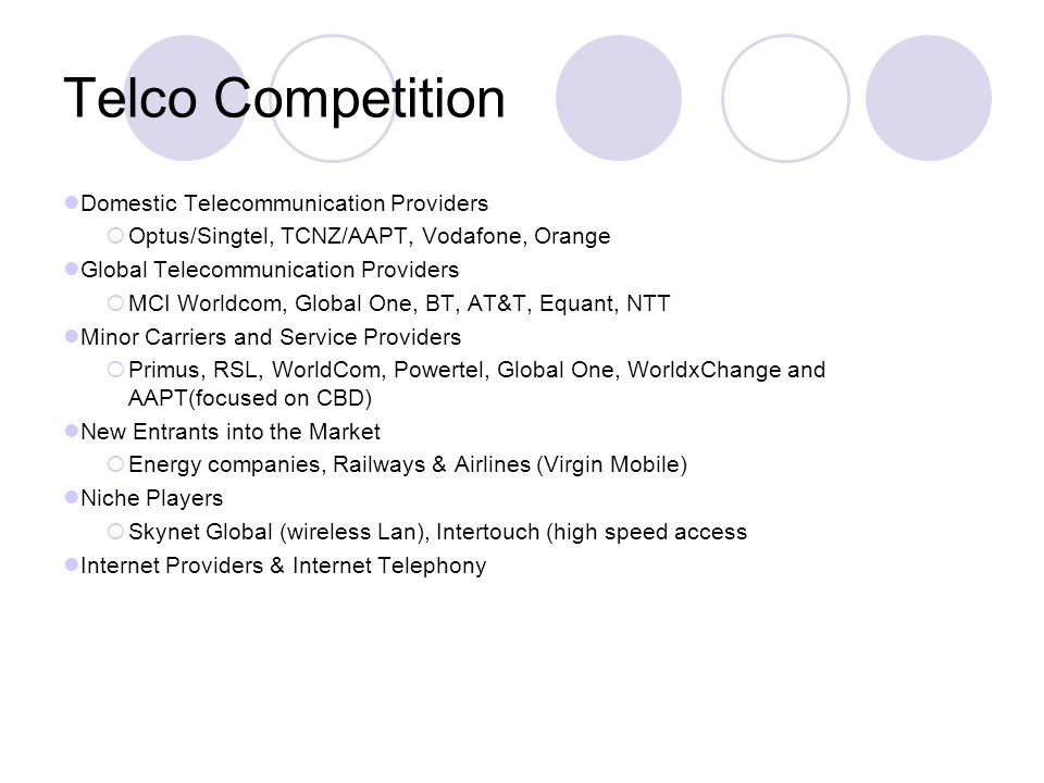 Telco Competition Domestic Telecommunication Providers Optus/Singtel, TCNZ/AAPT, Vodafone, Orange Global Telecommunication Providers MCI Worldcom, Global One, BT, AT&T, Equant, NTT Minor Carriers and Service Providers Primus, RSL, WorldCom, Powertel, Global One, WorldxChange and AAPT(focused on CBD) New Entrants into the Market Energy companies, Railways & Airlines (Virgin Mobile) Niche Players Skynet Global (wireless Lan), Intertouch (high speed access Internet Providers & Internet Telephony