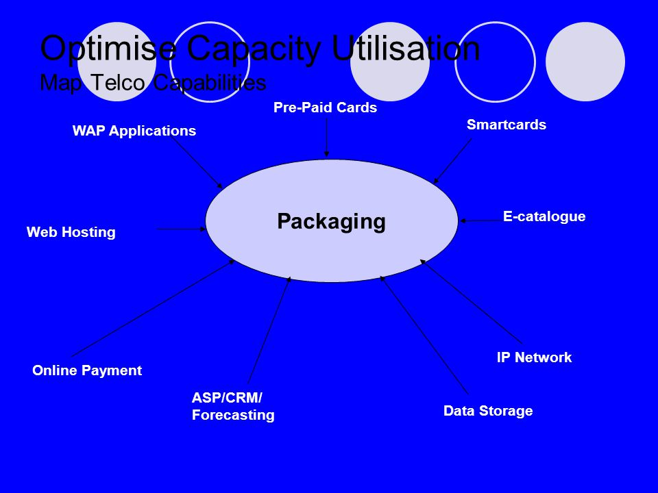 Web Hosting Optimise Capacity Utilisation Map Telco Capabilities Packaging Smartcards Pre-Paid Cards WAP Applications E-catalogue IP Network Online Pa