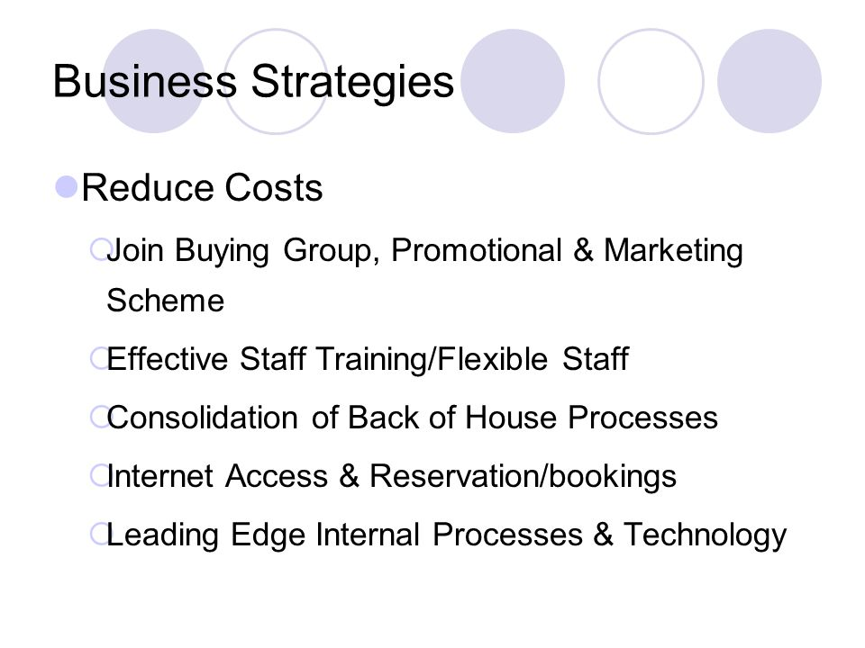 Business Strategies Reduce Costs Join Buying Group, Promotional & Marketing Scheme Effective Staff Training/Flexible Staff Consolidation of Back of House Processes Internet Access & Reservation/bookings Leading Edge Internal Processes & Technology