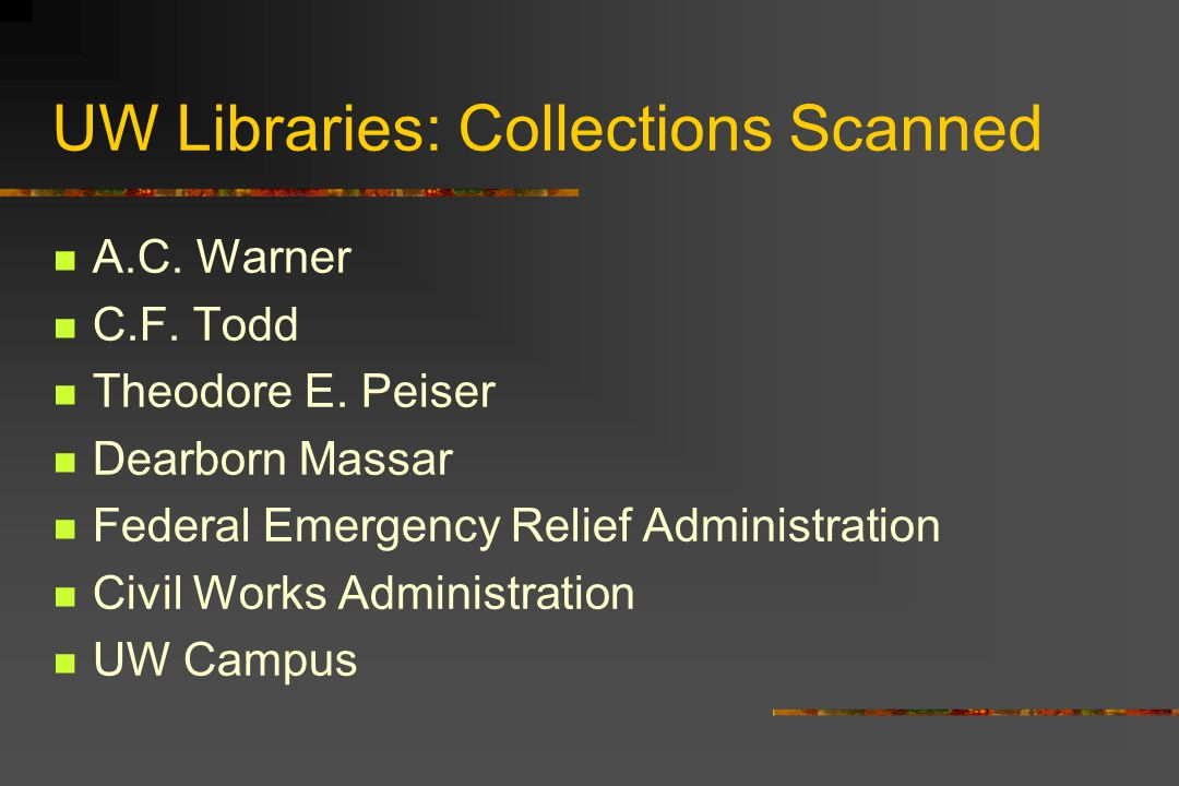 UW Libraries: Collections Scanned A.C. Warner C.F.