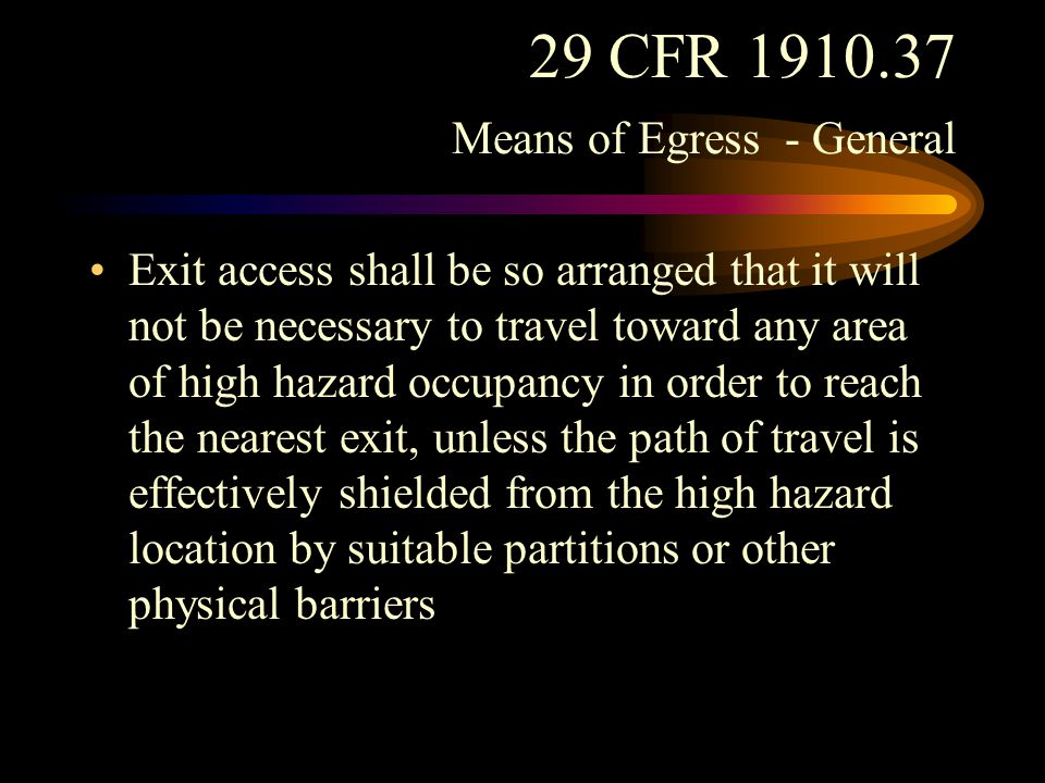 29 CFR 1910.37 Means of Egress - General The minimum width of any way of exit access shall in no case be less than 28 inches.