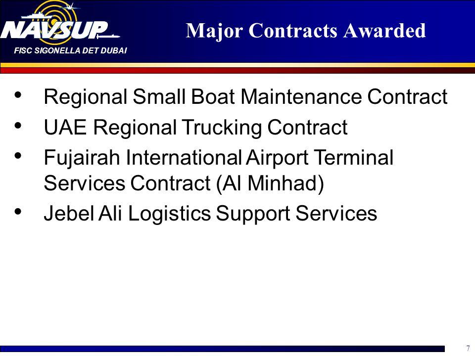 FISC SIGONELLA DET DUBAI 7 Major Contracts Awarded Regional Small Boat Maintenance Contract UAE Regional Trucking Contract Fujairah International Airport Terminal Services Contract (Al Minhad) Jebel Ali Logistics Support Services