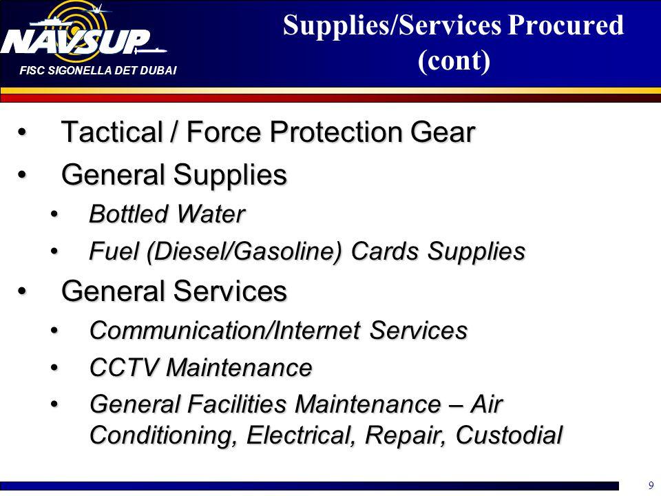FISC SIGONELLA DET DUBAI 9 Supplies/Services Procured (cont) Tactical / Force Protection GearTactical / Force Protection Gear General SuppliesGeneral